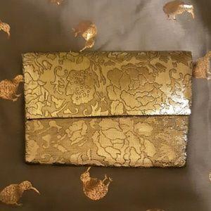 Vintage Gold Floral Clutch